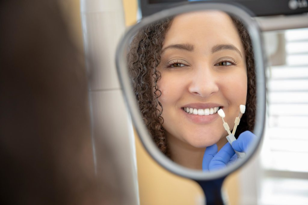 patient being fitted for veneers Select Dental